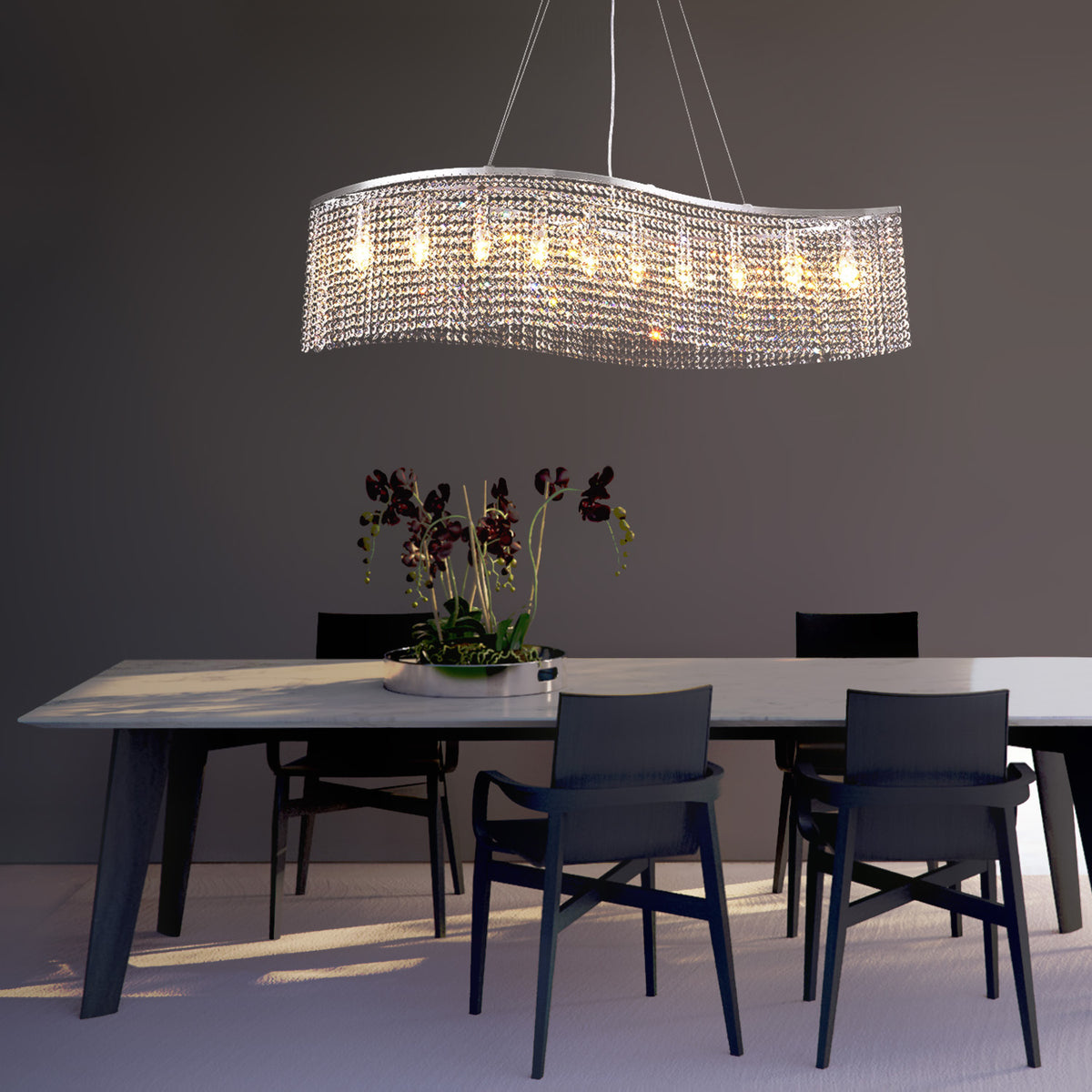 Elegant Wave Raindrop Crystal Chandelier Pendant Light