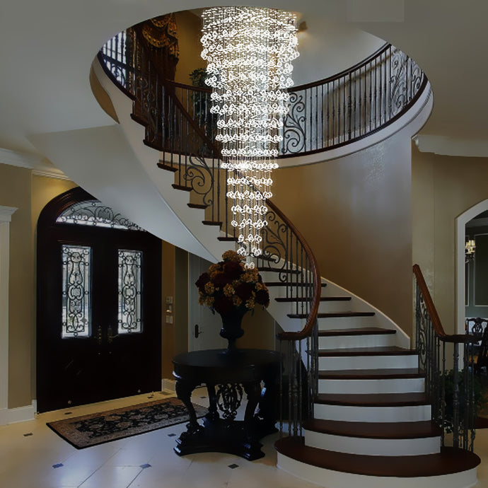 Round Raindrop Crystal Chandelier - Ceiling Light - Staircase
