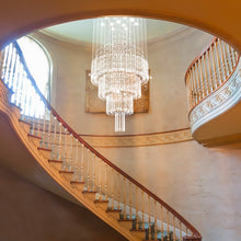 Floating Castle Raindrop Crystal Chandelier - Double Layer - Staircase