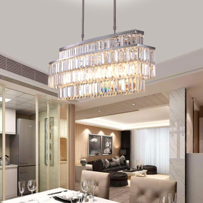 Modern Rectangular Crystal Chandelier - Rod-Type Pendant Light - Dining Room