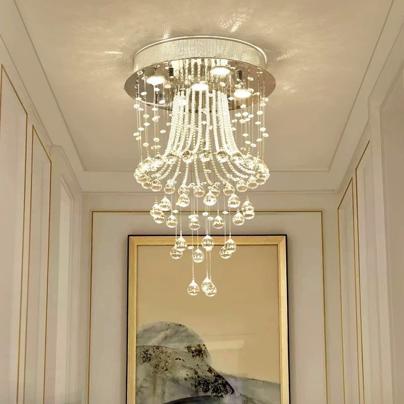 Modern Round Flush Mount Crystal Chandelier - Jellyfish Ceiling Light - Hall Way