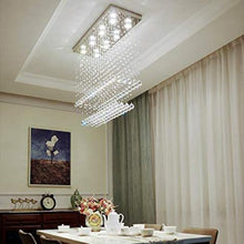 Contemporary Rectangular Flush Mount Ceiling Light - Double Layer Raindrop Crystal Chandelier - Dining room