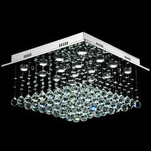 Square Raindrop Design Crystal Chandelier With Cold Light