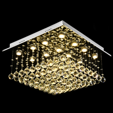 Square Raindrop Design Crystal Chandelier With Warm Light