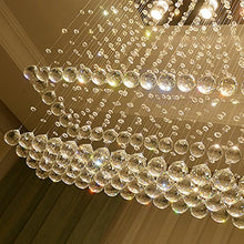 Contemporary Rectangular Flush Mount Ceiling Light - Double Layer Raindrop Crystal Chandelier - details