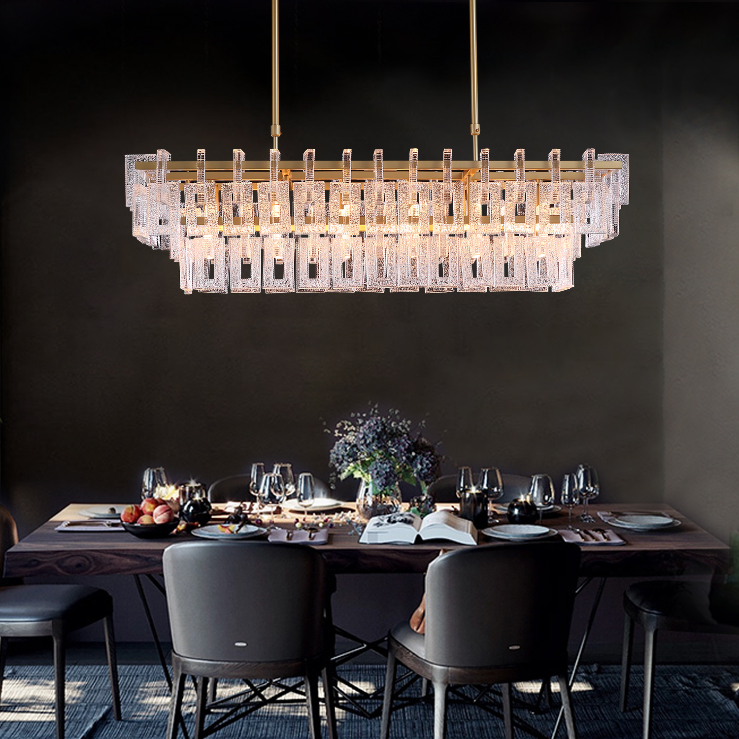 Modern Rectangular Crystal Linear Chandelier - Pendant Light