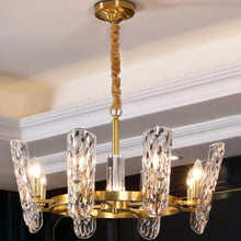 Luxury Copper Crystal Chandelier with Unique Wavy Shades