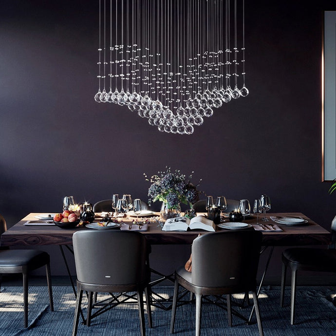 Modern Wing Shape Crystal Chandelier with Rectangular Base