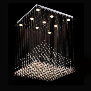 Pyramid Raindrop Square Crystal Chandelier - Ceiling Lights Warm Light