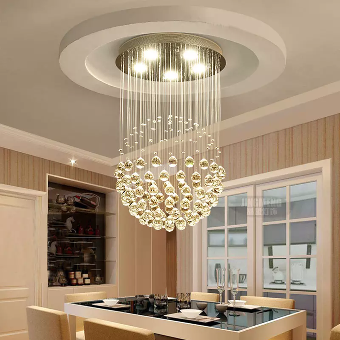 Raindrop Crystal Chandelier - Single Sphere - Dining Room