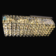 Rectangular Raindrop Crystal Chandelier - Ceiling Light With Warm Light