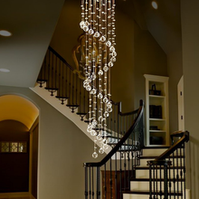 Spiral Raindrop Chandelier - Crystal Ceiling Light At Staircase