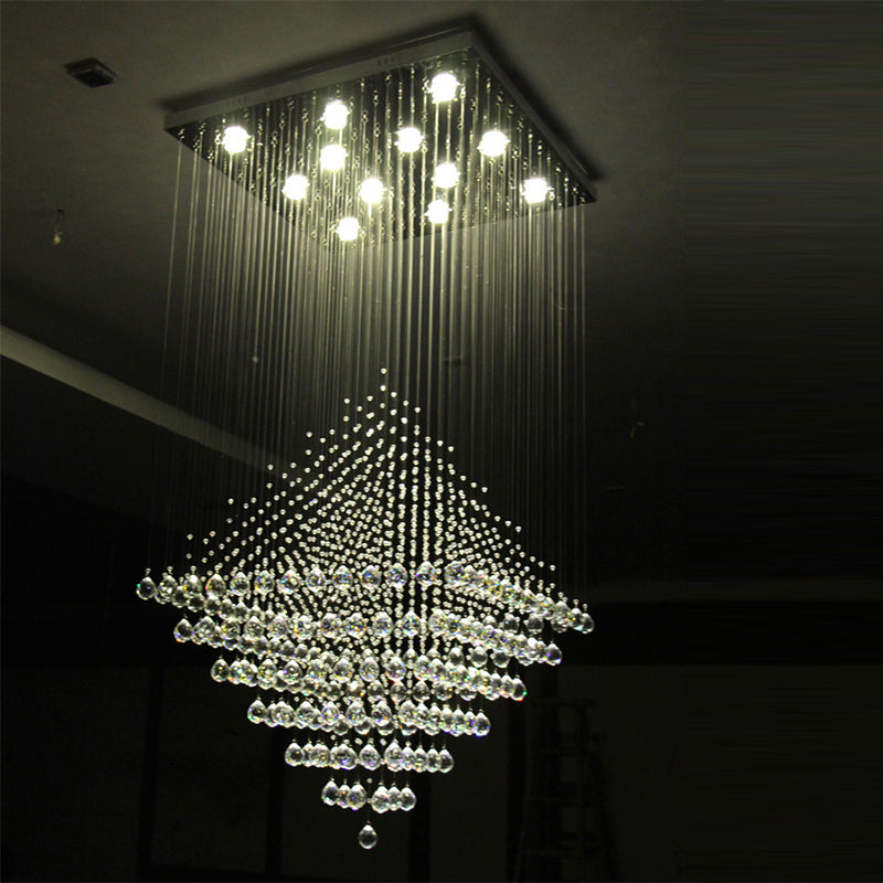 Rubik Lighting - Diamond Shape Crystal Chandelier With Warm Light