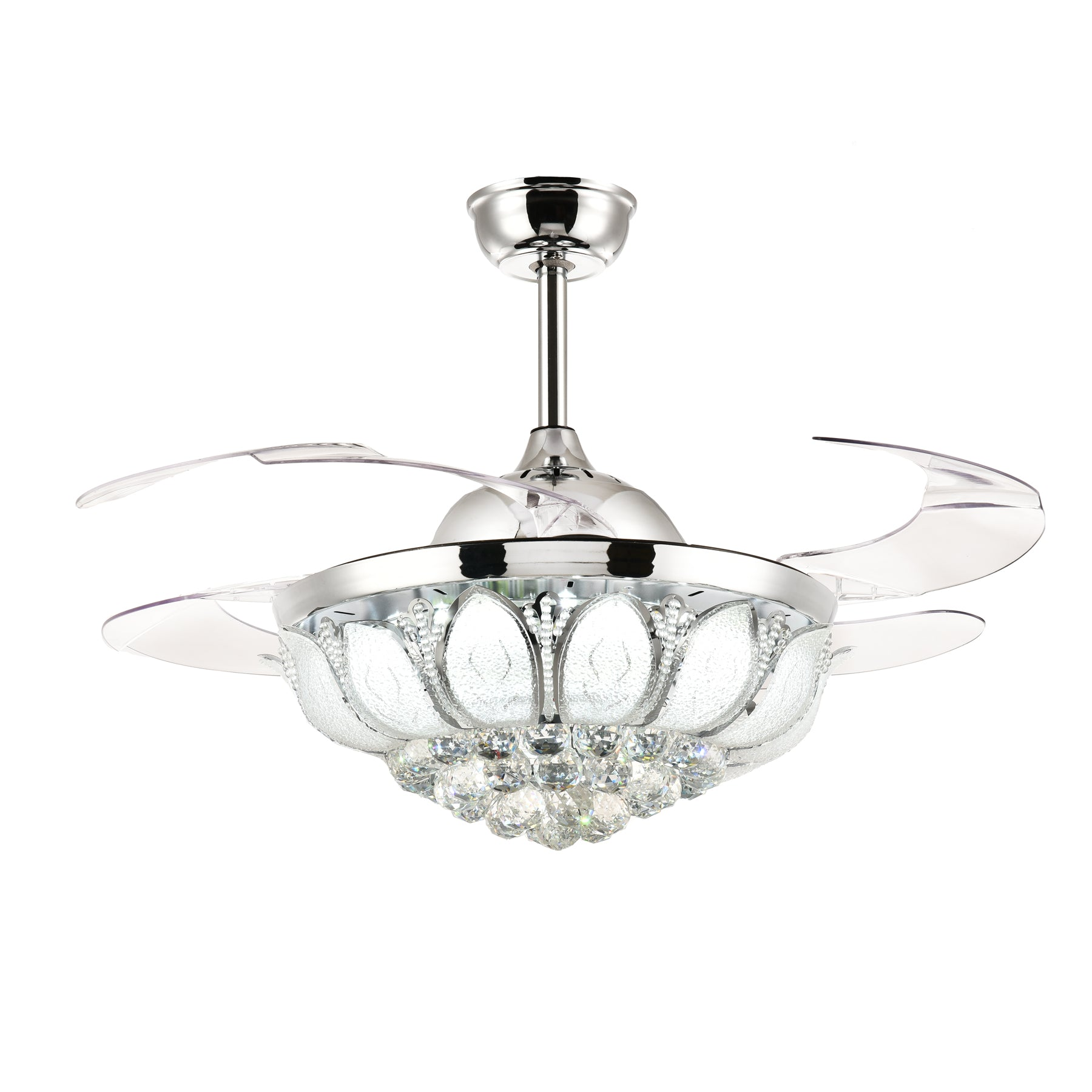 Polished Crystal Ceiling Fan With Blades Extended