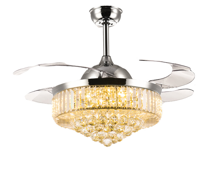 Retractable Ceiling Fan   Chandelier Ceiling Fan With Blades Extented Warm  Light