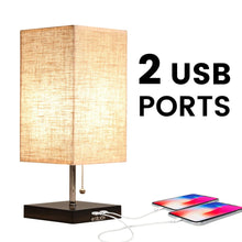 Modern Design USB Table Lamp with Linen Lampshade - details