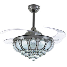Crystal Ceiling Fan With Black Design With Blades Extended Cold Light