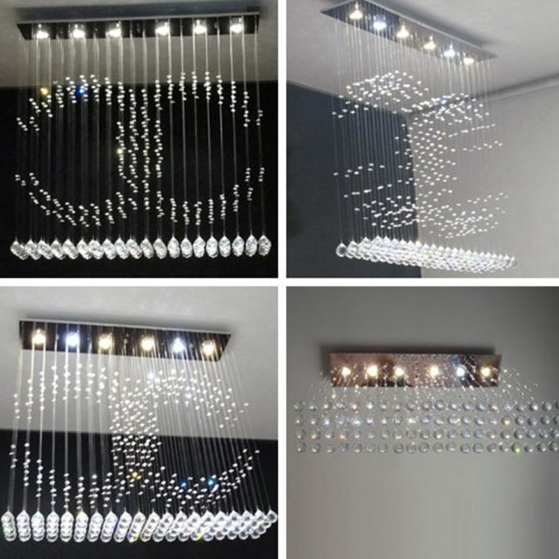 Double C Crystal Chandelier Ceiling Light Different Angles