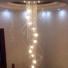 Double Spiral Raindrop Crystal Chandelier - Flush Mount Ceiling Light - Staircase