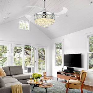 Modern Crystal Ceiling Fan Chandelier - Living Room