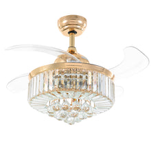 Retractable Ceiling Fan - Chandelier Ceiling Fan With Blases Retracted
