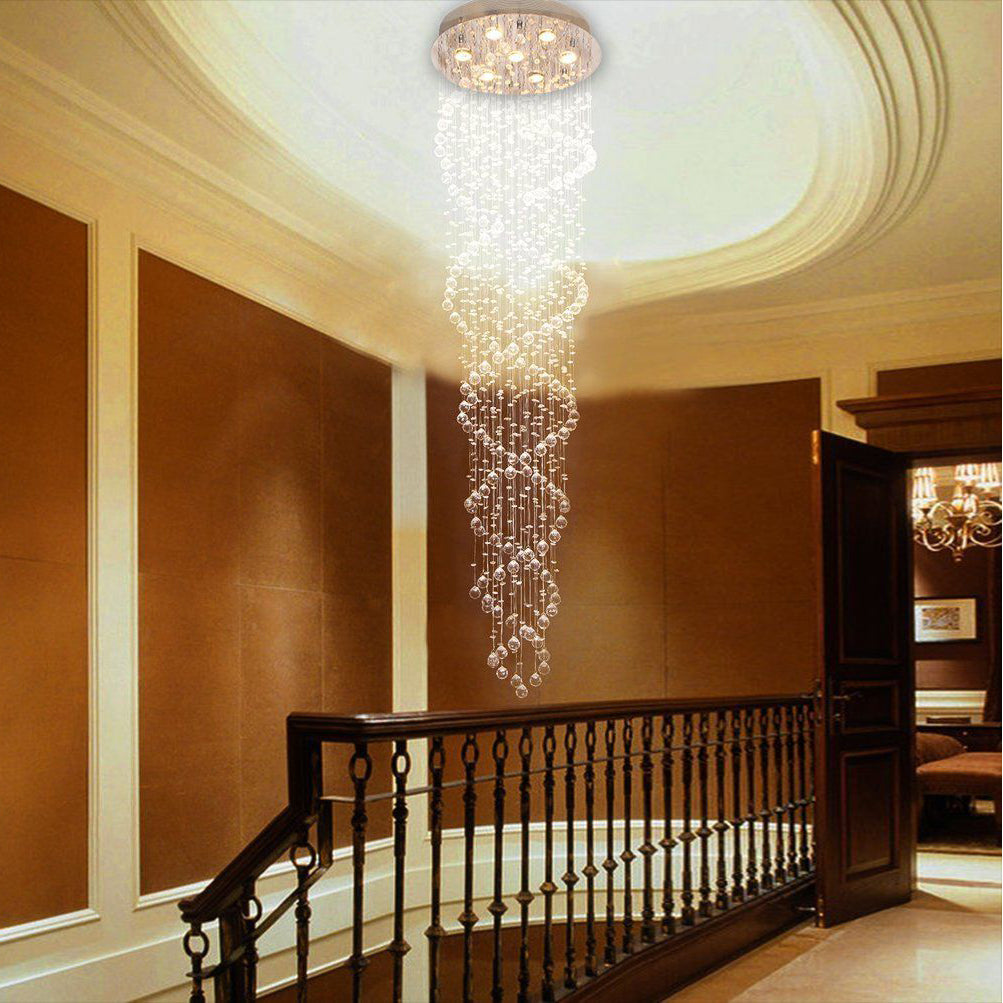 Double Spiral Raindrop Chandelier   Spiral Ceiling Light At The Staircase