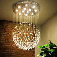 Single Sphere Raindrop Crystal Chandelier With Warm Light