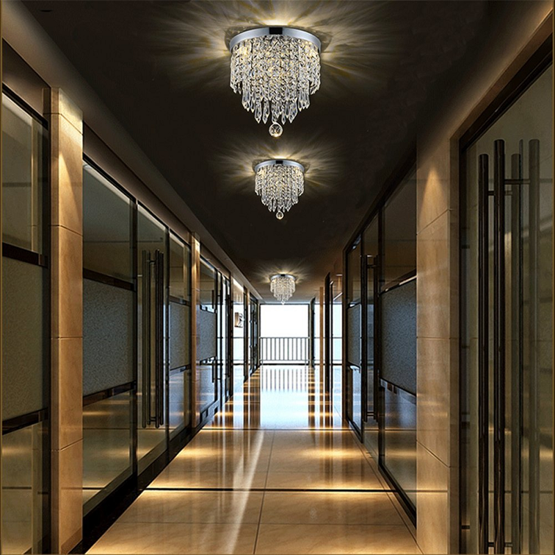 Modern Flush Mount Mini Crystal Chandelier - Ceiling Light At Hallway