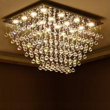 Rectangular Multi-layer Flush Mount Raindrop Crystal Chandelier