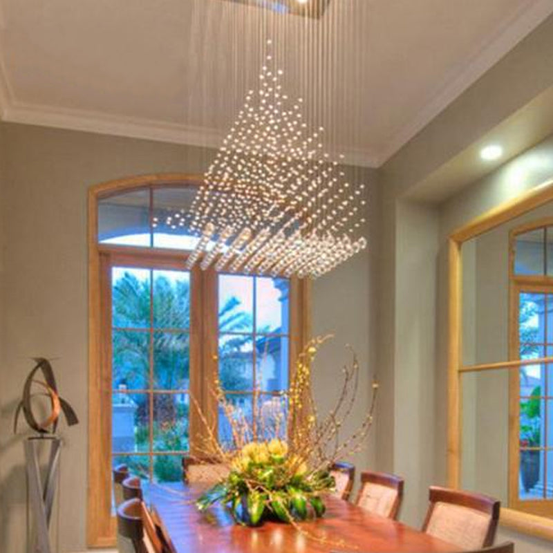 Rectangular Base Pyramid Raindrop Crystal Ceiling Lights Dinning Room
