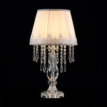 Elegant White Ruched Fabric Crystal Table Lamp - Set of 2 - details