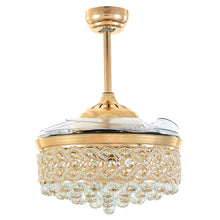 Retractable Crystal Ceiling Fan With Gold Finish With Blades Retracted