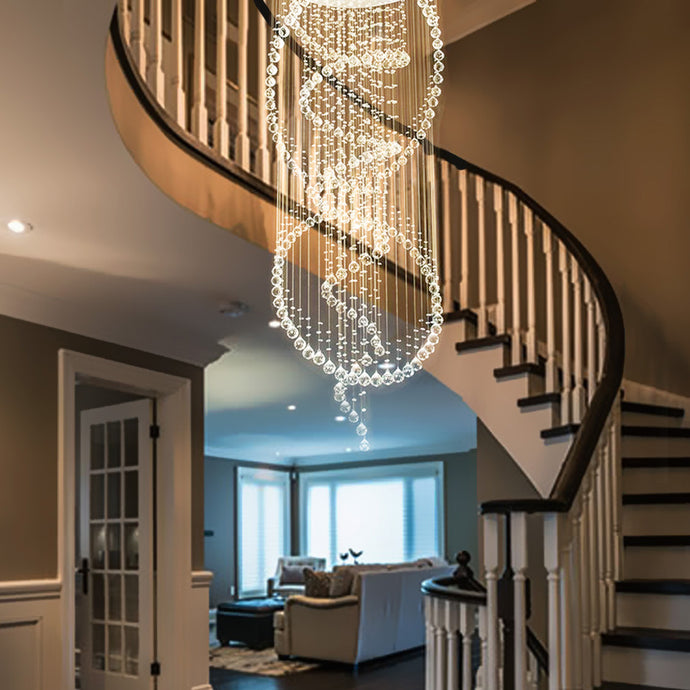 Three Circle Spiral Raindrop Chandelier Ceiling Lights Warm Light - Staircase