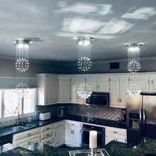Double Sphere Raindrop Crystal Chandelier Kitchen Room
