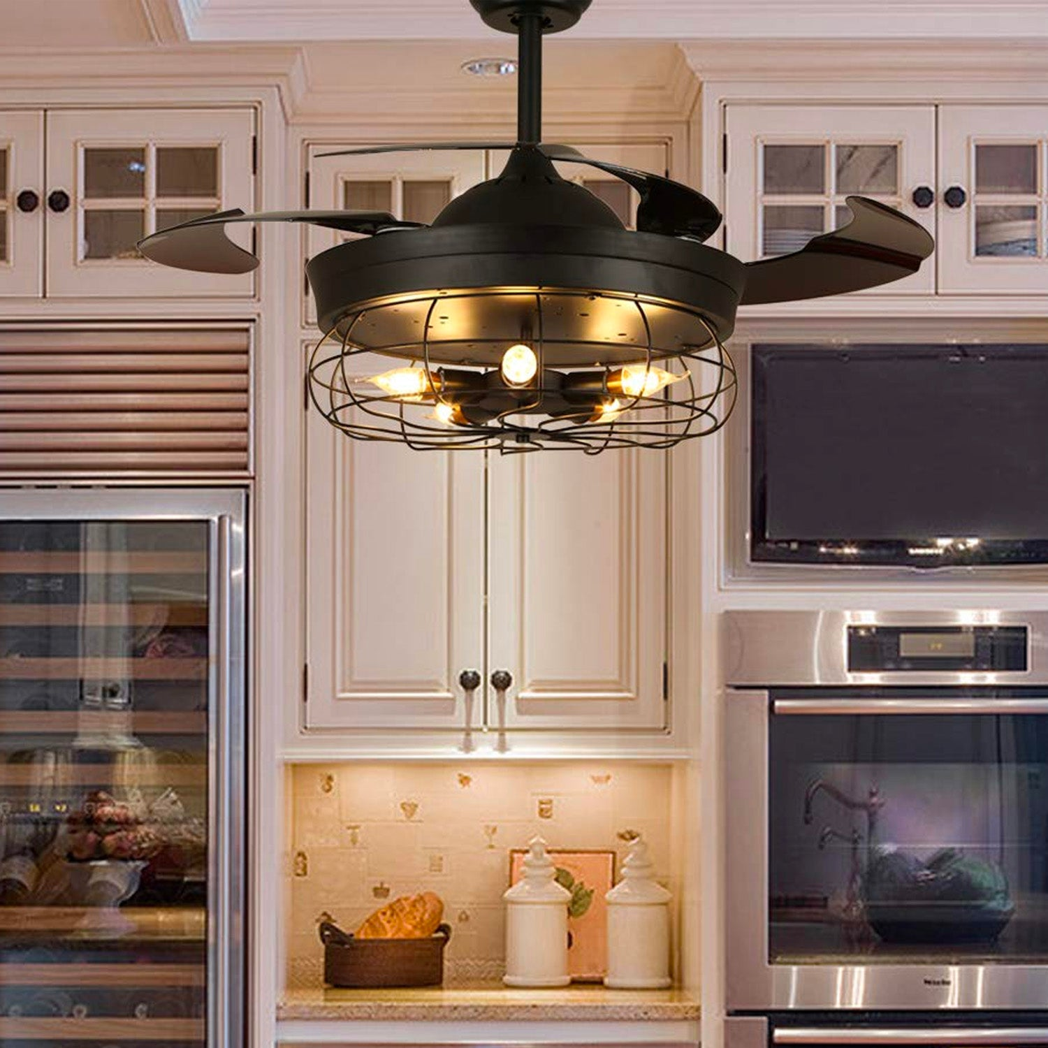 Black Industrial Ceiling Fan With Invisible Blades - Kitchen