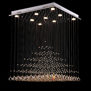 Pyramid Raindrop Square Crystal Chandelier - Ceiling Lights