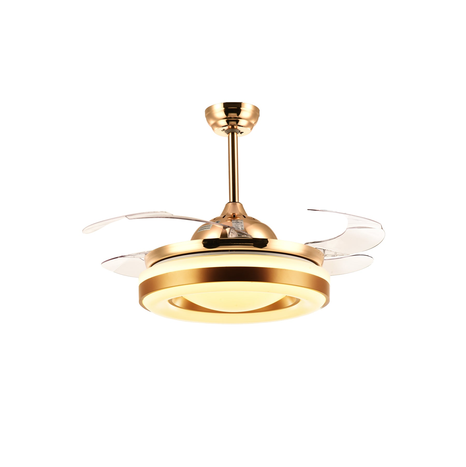 Ceiling Fan With Golden Lighting Design