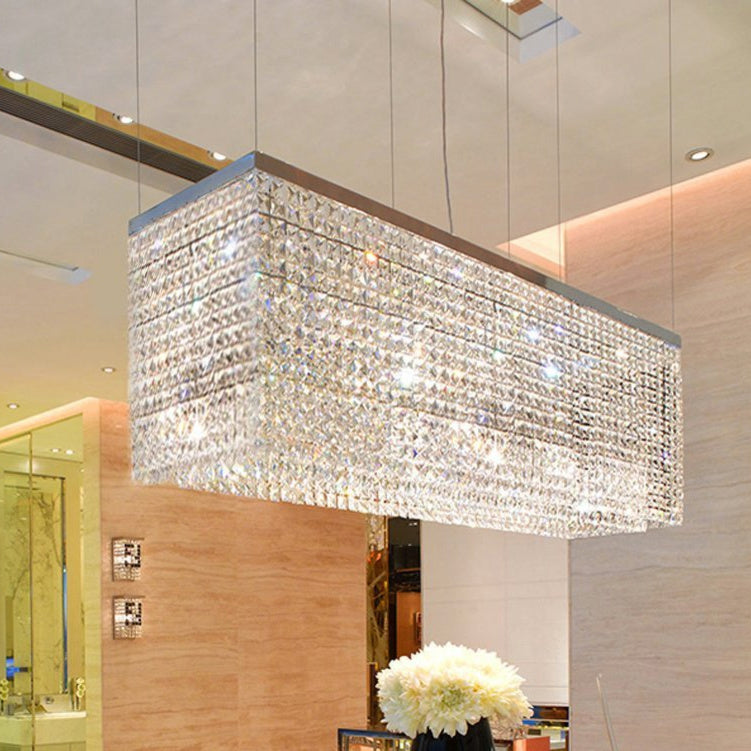 Contemporary Luxury Linear Rectangular Crystal Chandelier- Dining Room