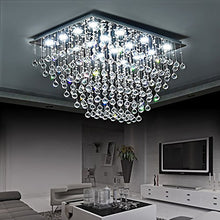 Rectangular Multi layer Flush Mount Raindrop Crystal Chandelier - Living Room