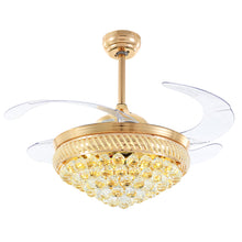 Gold Crystal Ceiling Fan With Warm Light