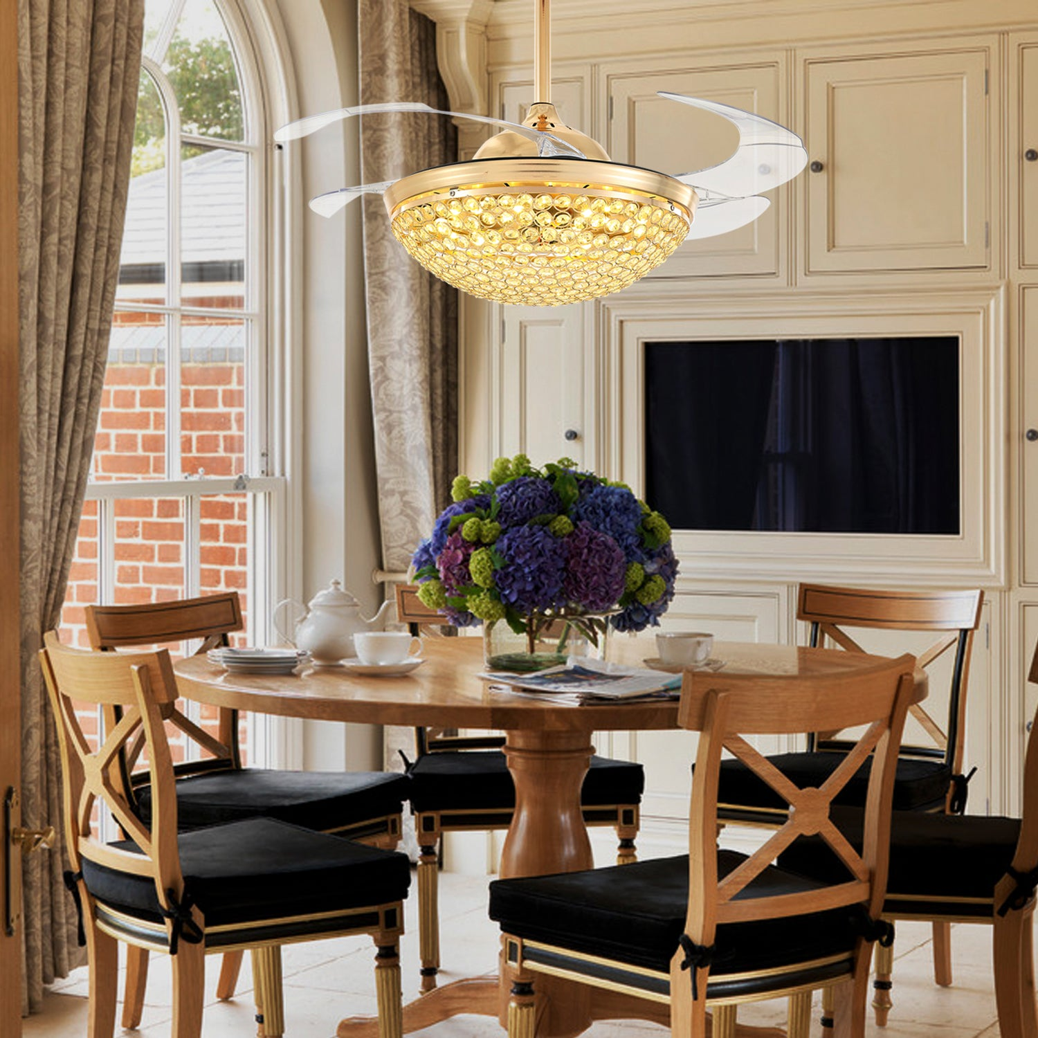 Retractable Crystal Ceiling Fan With Invisible Blades - Dining Room