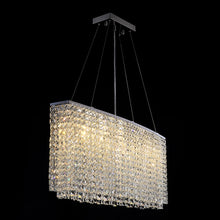 Rectangular Raindrop Crystal Pendant Light With Warm Light