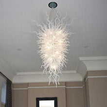 White Hand Blown Glass Chandelier Lobby