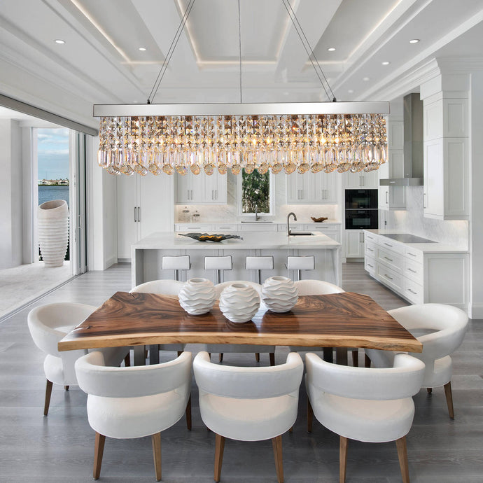 Rectangular Crystal Chandelier Dining Room