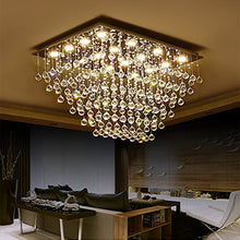 Rectangular Multi-layer Flush Mount Raindrop Crystal Chandelier Bed Room