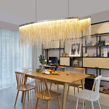 Modern Linear Aluminum Chandelier - Dining room