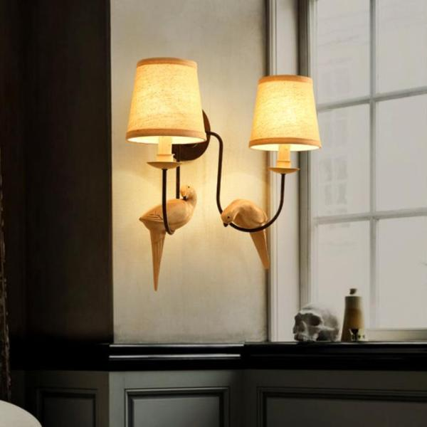 Resin Birds Wall Lamp With Shades At Living Room