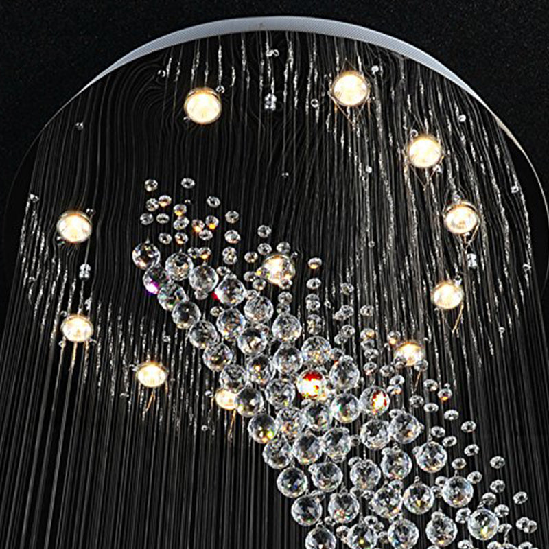Moon Shaped Spiral Wave Crystal Chandelier Details