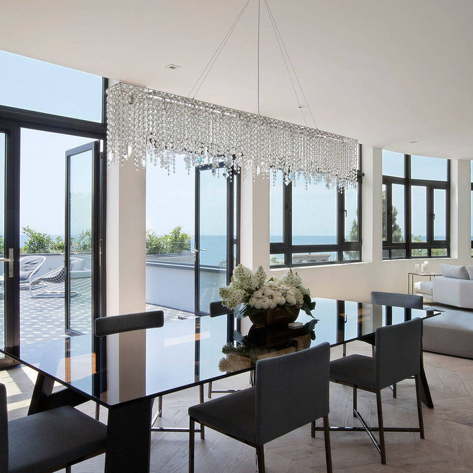 Contemporary Linear Rectangular Crystal Chandelier