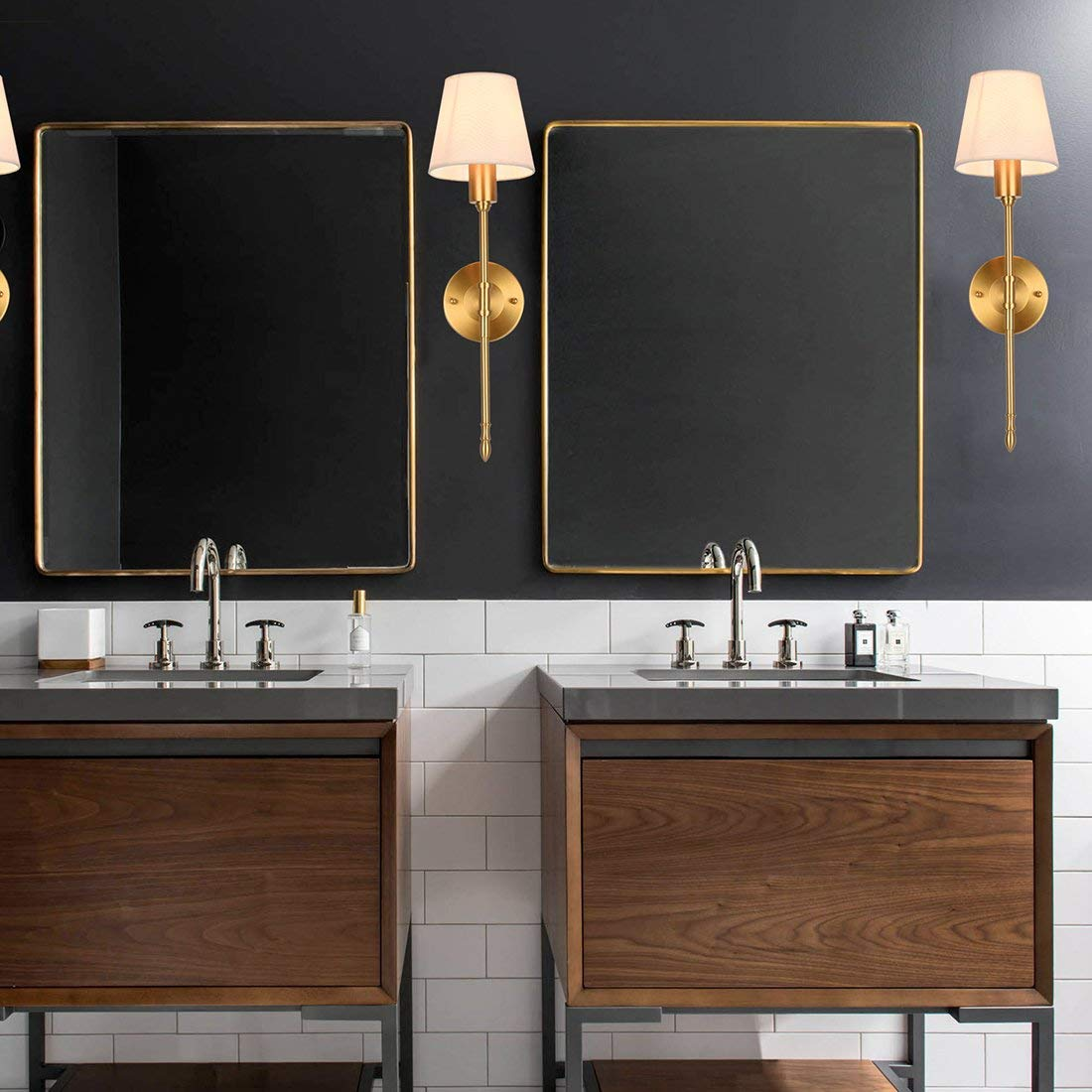 Lop Wall Lamp Brass Finish At Bathroom